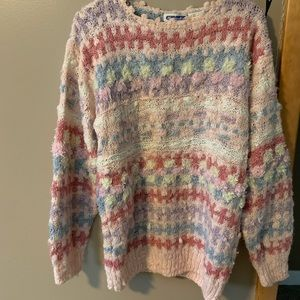 Sweaters - Vintage Multi Color Pastel Sweater-Md